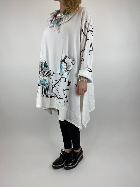 Lagenlook cowl sweatshirt 30+ plus in White. code 10256