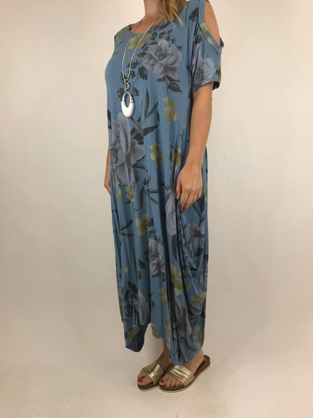 Lagenlook Flower Cold shoulder Tunic in Denim. code 41026