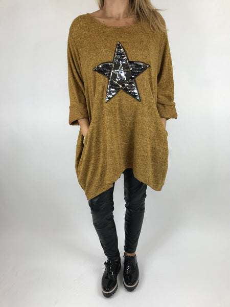 Lagenlook Star  Brushed Fleck Tunic In Mustard. code 74766