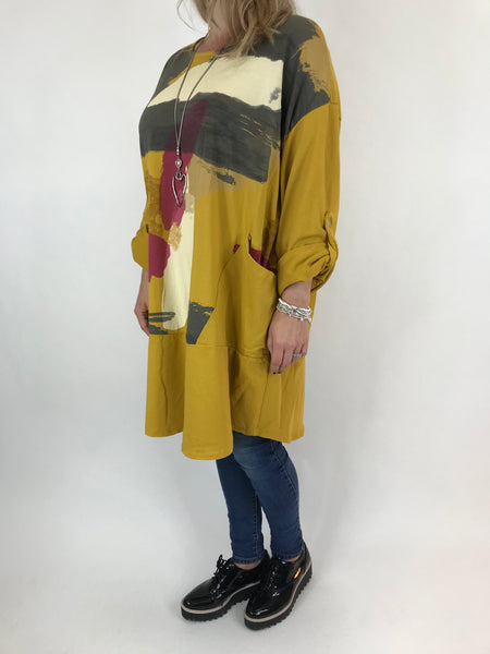Lagenlook Paint Splash Print Top in Mustard. code 976301