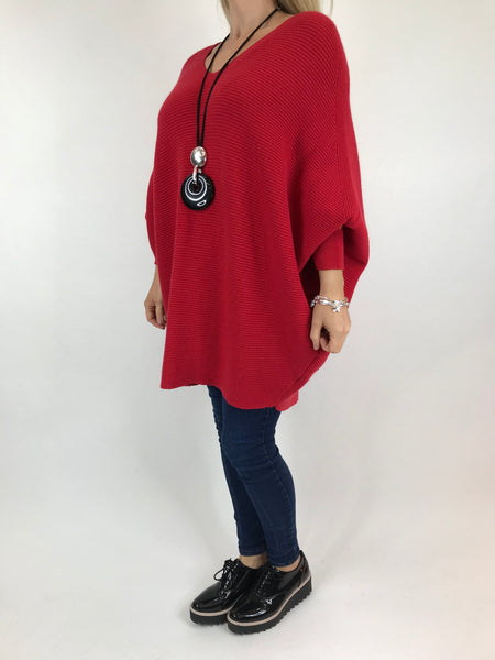 Lagenlook Oxford V-Neck Rib Jumper in Red. code 6029