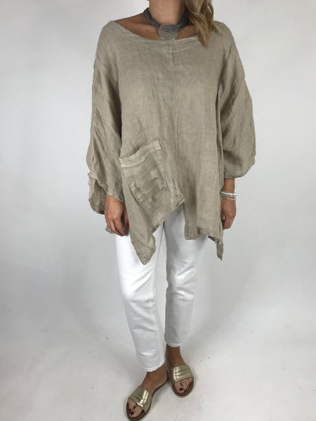 Lagenlook Amy Pocket Plain Top in Beige. Code 5042