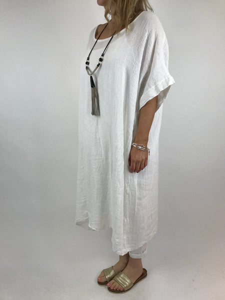 Lagenlook Delto Summer Top in White. code 1029