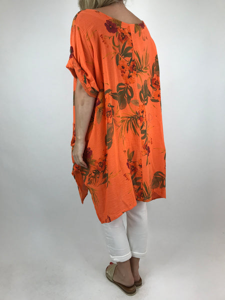 Lagenlook Mija Flower Cotton Top in Orange. code 18295