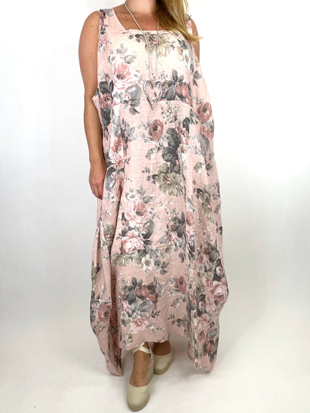 Lagenlook Emily-2 Plus Size Linen Flower Print Dress in Pale Pink.code 8262 - Lagenlook Clothing UK