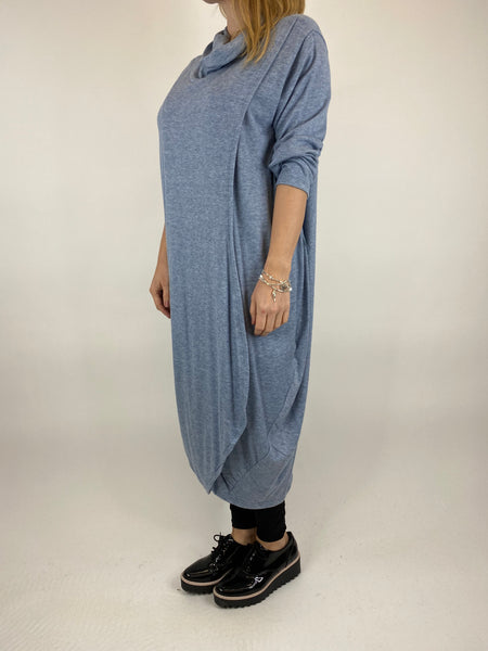 Lagenlook Fold Front Knit Tunic In Light Denim. code 5524