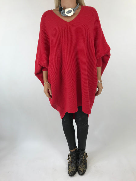 Lagenlook Bamford V-Neck Jumper in red . code 5418