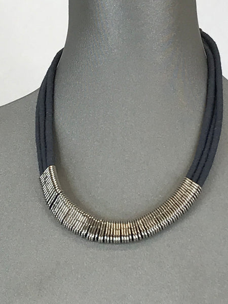 Lagenlook Short Necklace Cotton Wrap Silver Bars.  Code Rs1406