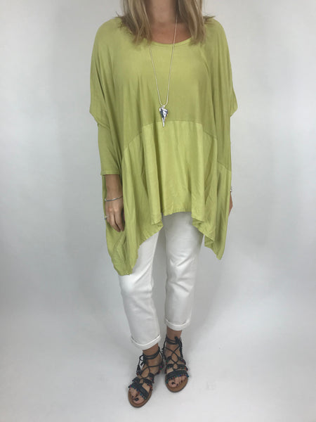 Lagenlook Anne Swish Top in Lime. code 5645