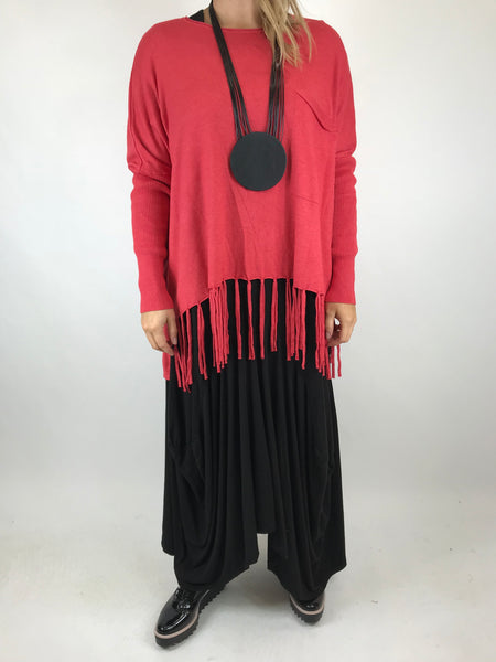 Lagenlook Tibi Tassel Knit Jumper in Coral.  Code 5373