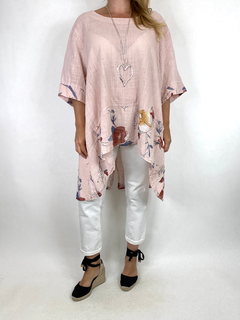 Lagenlook Sam Flower Hem Cotton Top in Pale Pink.code 10017 - Lagenlook Clothing UK