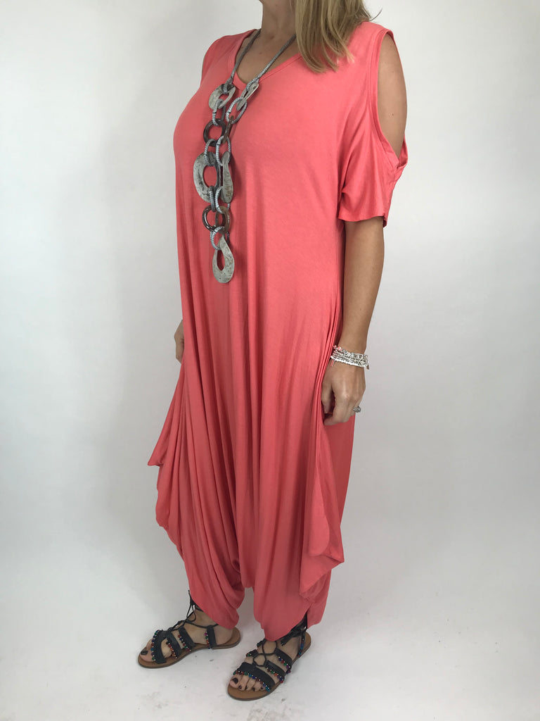 Lagenlook Made in Italy Jersey Jump Suit in Coral. code 1544