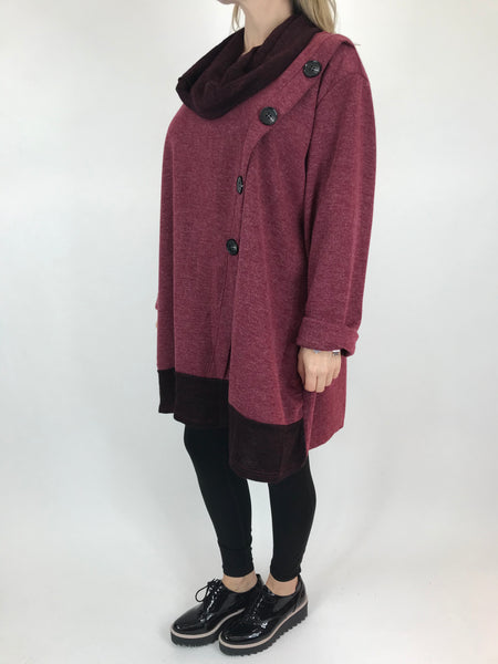 Lagenlook Flo Snood 2 piece button asymmetric in Wine . code 10218