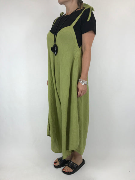Lagenlook Lexi Linen Jump Suit in Lime . code 5323
