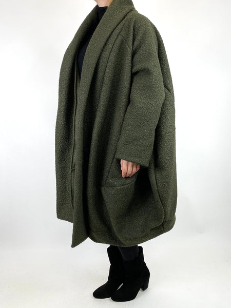 Lagenlook Bella Boucle Cocoon Coat in Khaki. code 66302 - Lagenlook Clothing UK