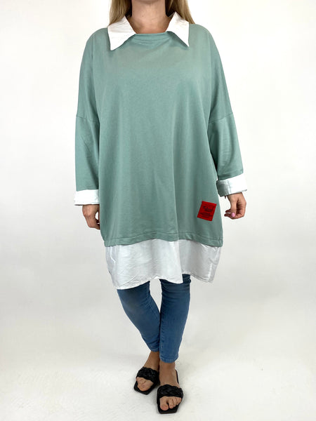 Lagenlook Cassie Cotton Shirt Top in Sage. code 91205 - Lagenlook Clothing UK