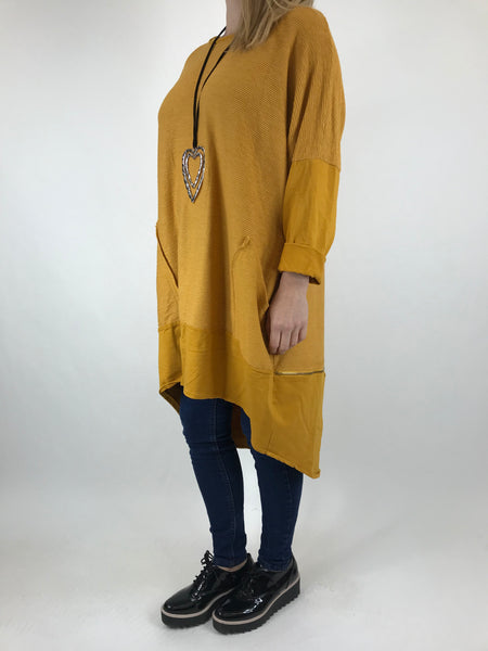 Lagenlook Zip Back Ribbed Top in Mustard. code 6028