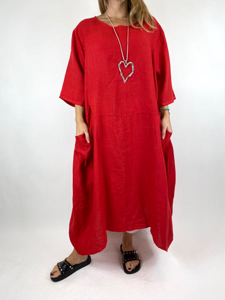 Lagenlook Upton Pocket Plain Linen Tunic in Red. code 1809
