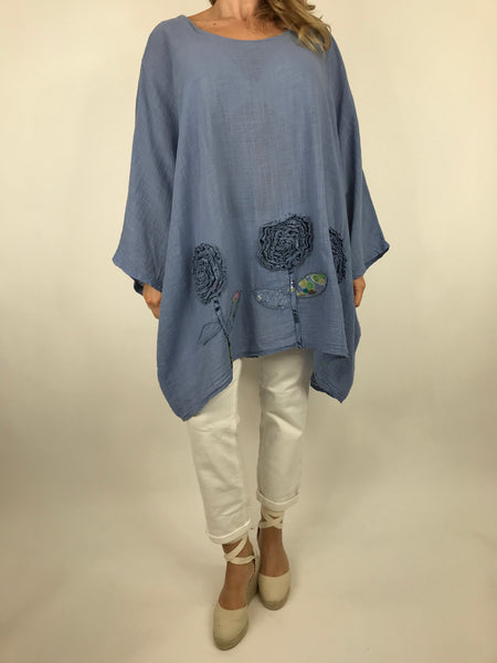 Lagenlook Dalia Flower hem in Denim . Code 90969