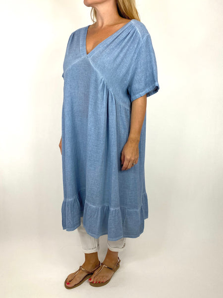 Lagenlook Horton Washed V-Neck top in Denim . code 10436