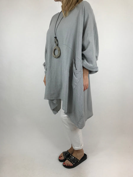 Lagenlook Trinny Oversized Cotton Top in Pale grey.code 18168