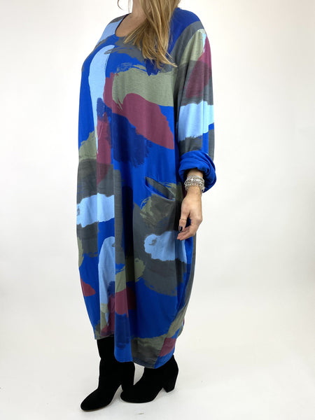 Lagenlook Elin Paint Splash Print Tunic in Royal Blue. code 9807 - Lagenlook Clothing UK