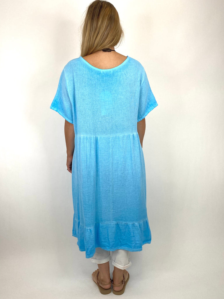 Lagenlook Horton Washed V-Neck top in Aqua. code 10436