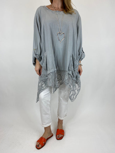 Lagenlook Alice Lace Hem Top in Pale Grey. Code 922011