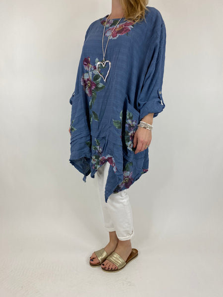 Lagenlook Cotton Flower panel top in Denim. code 92201