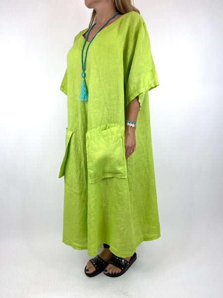 Lagenlook Deana V- Neck Linen Tunic in Lime . code 8588