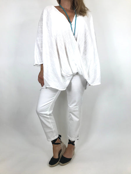Lagenlook Linen Wrap Top in White.code 2087