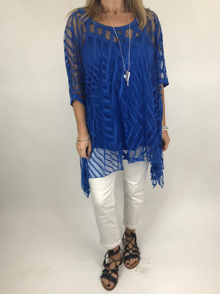 Lagenlook Lazer Cut Net Layering Top in Royal Blue. code 18042