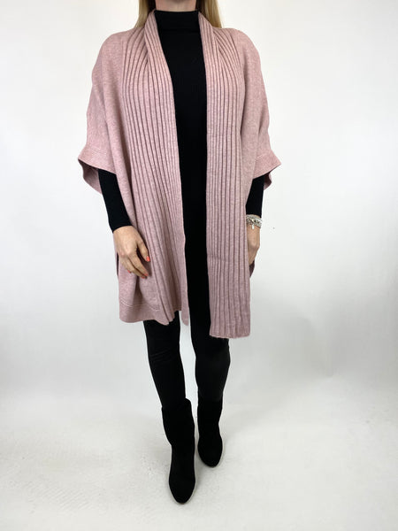 Lagenlook Perry Cable Edge Knitted Cardigan in Winter Pink. code 2728 - Lagenlook Clothing UK