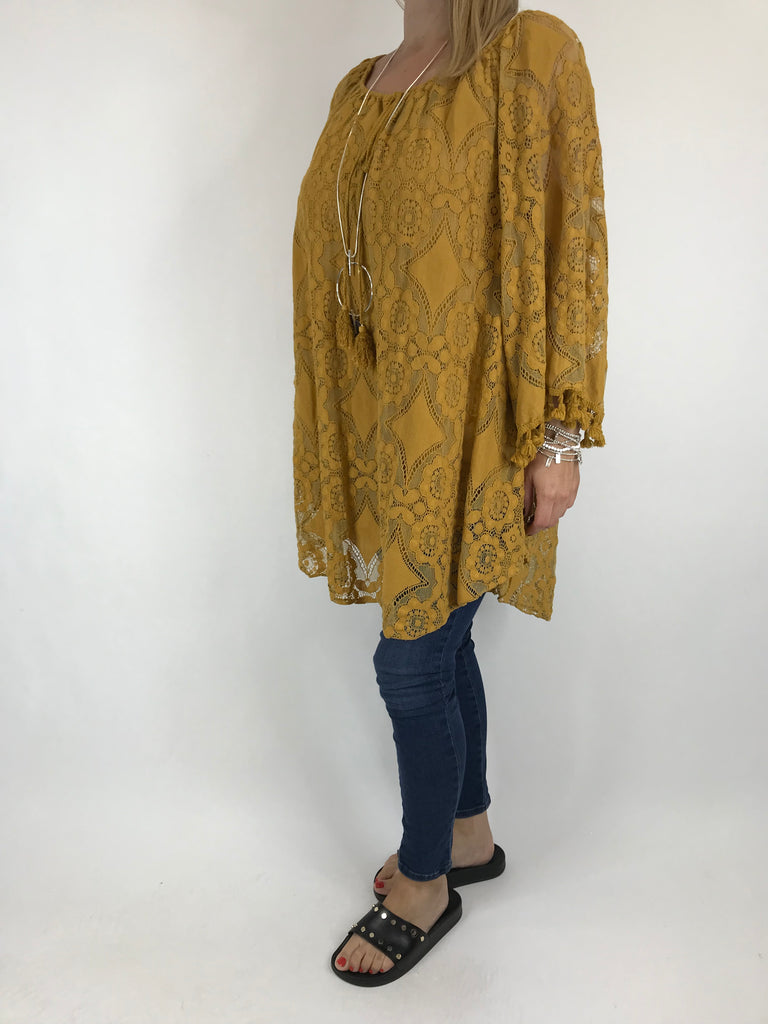 Lagenlook Lace Top in Mustard. code 5928