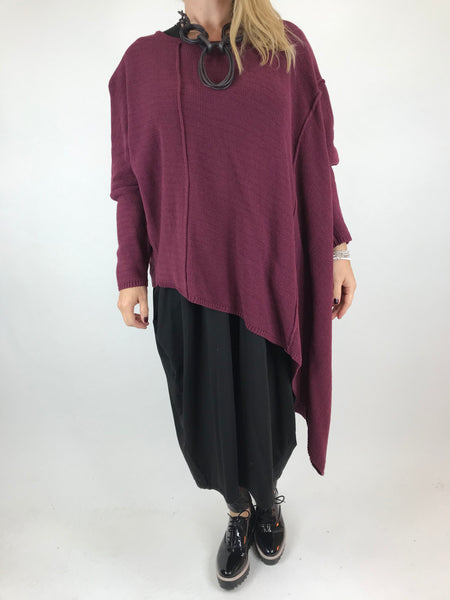 Lagenlook Collins Asymmetrical layering tank in Wine. Code 1830