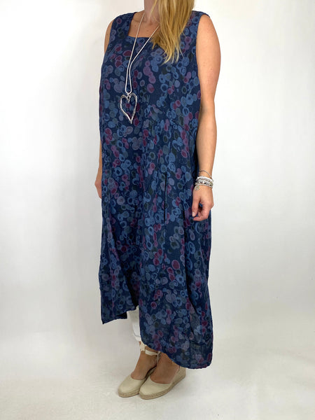 Lagenlook Millie Linen Flower Dot Square neck tunic in Navy. code 8262D