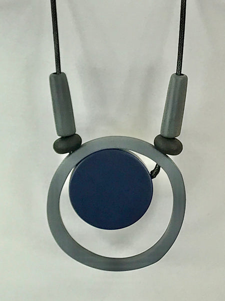Lagenlook Statement Navy and grey Hoop Necklace .Code 730-11navy