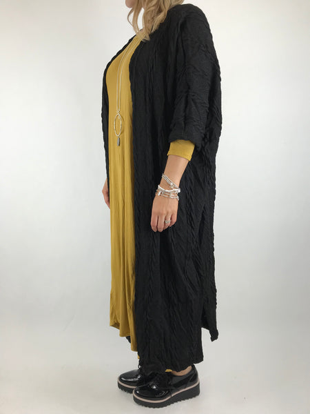 Lagenlook Britton Cable Cardigan in Black. code 97748