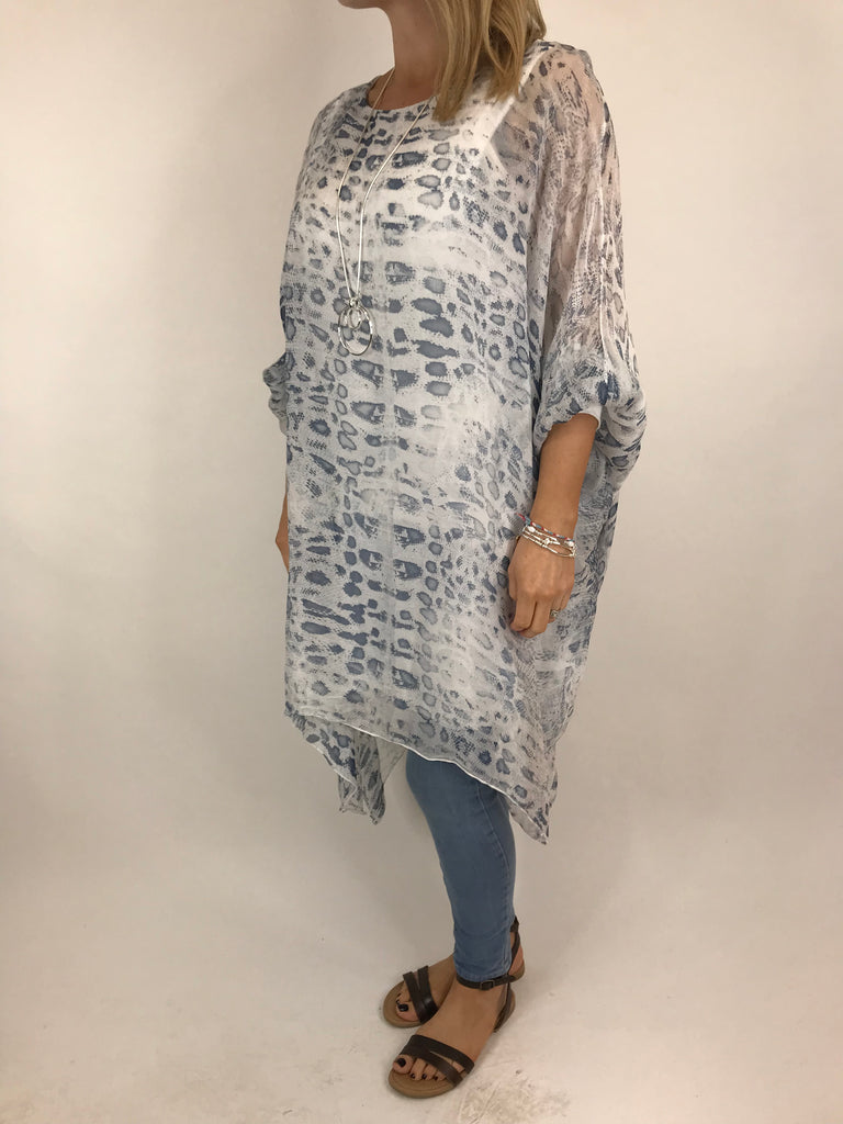 Lagenlook Snake Print Silk Poncho Top in White. code 1727s