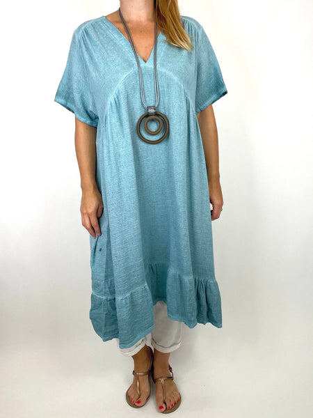 Lagenlook Horton Washed V-Neck top in Seaweed . code 10436