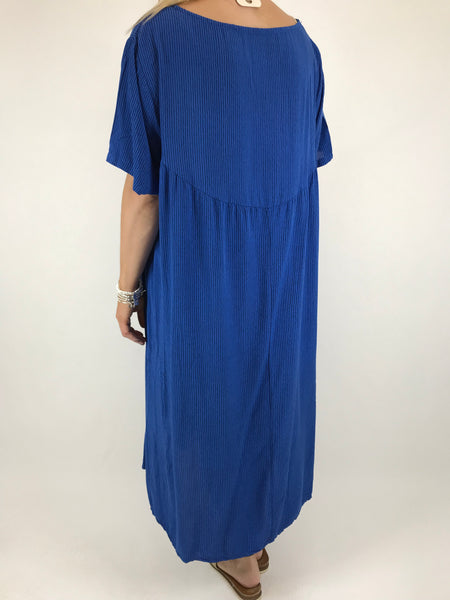 Lagenlook Pinstripe summer Tunic in Royal Blue . code 19135