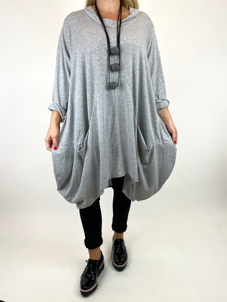 Lagenlook Ada Parachute Dress in Grey Marl. code 91048 - Lagenlook Clothing UK