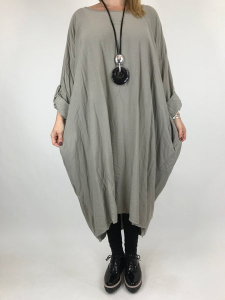 Lagenlook Beckan Knot Back Tunic in Mocha.code 6037