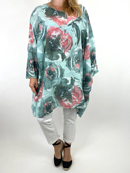 Lagenlook Iris Watercolour Flower Top in Mint.code 91006WC