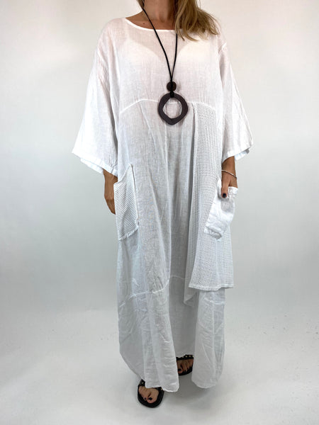 Lagenlook Emma Mesh Panel Linen Tunic in White. code 87001