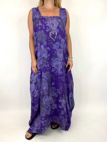 Lagenlook Emily-2 Plus Size Linen Flower Print Dress in Purple.code 8262 - Lagenlook Clothing UK