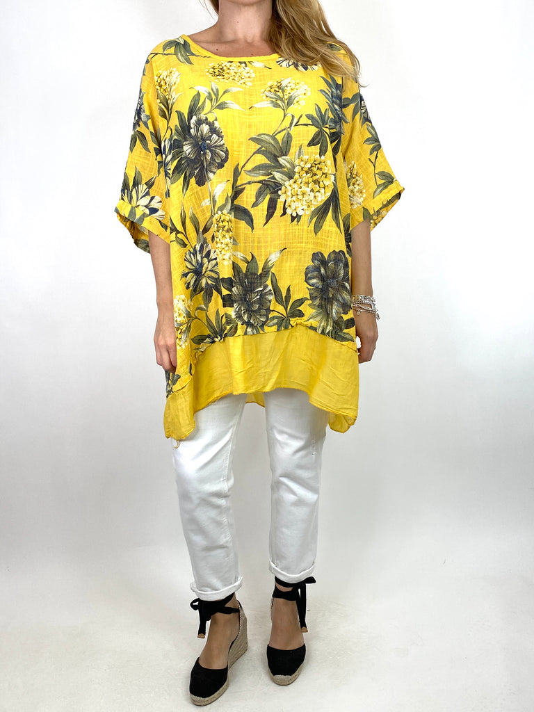Lagenlook Aster Tropical Flower Top in Yellow. code 89420