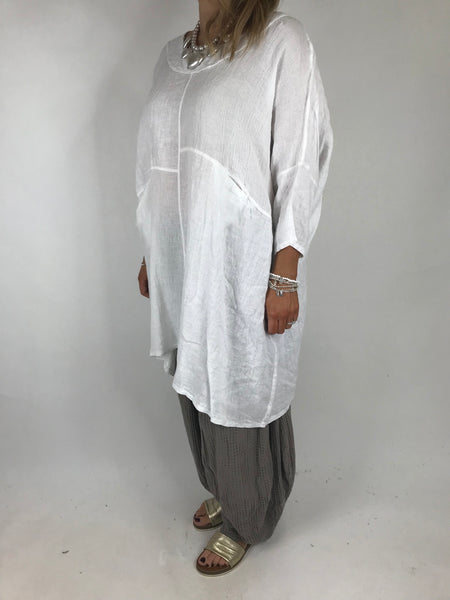 Lagenlook Mia Linen Top in White .code 5733