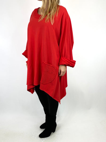 Lagenlook Holly Point Hem Cotton Sweatshirt in Red. code 91012 - Lagenlook Clothing UK