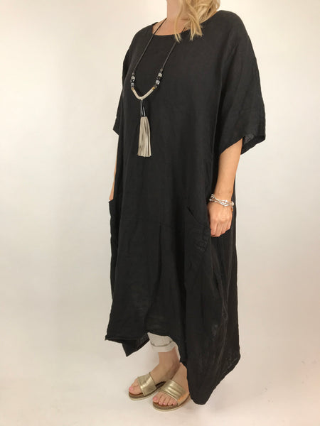 94748da53b2 ... Lagenlook Lola Pocket Linen Tunic in Black code 18254